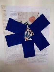 Birgitte Bush, 'BLUE CROSSING' - letters, handmade paper; 20x30; $375.
