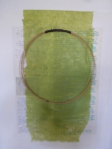 Hoop, Birgitte Bush (Denmark), 2015, hand-made paper, reeds, letters, 20%22 x 30%22