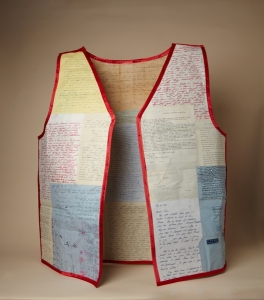 Life Vest, Ursina Vogt (Switzerland), 2014, letters, binding, backing, stitching, 24%22 w. x 29%22 h